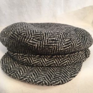 Lord & Taylor Tan & Black Wool Herringbone Hat